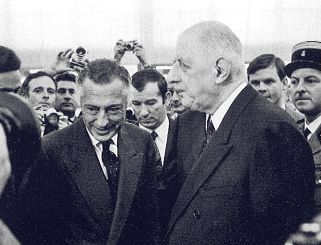 With Charles De Gaulle in Paris, on October 4, 1968.