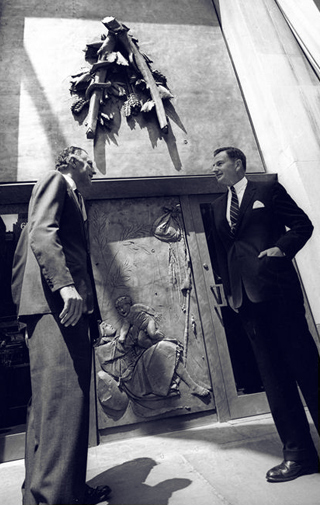 With David Rockefeller in 1965, in New York, during the opening of the new gate of Palazzo Italia.
