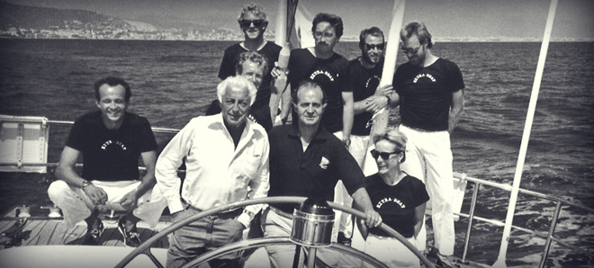 "With the King Juan Carlos of Spain on board the yacht ""Extrabeat"", in 1988."