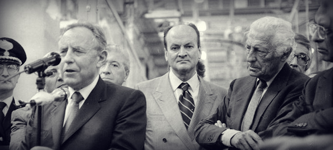 With the President of the Republic, Carlo Azeglio Ciampi, in 1993, during his visit to the Fiat Melfi Plant.