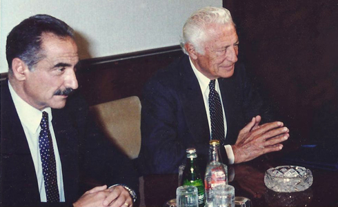 With Dr. Francesco Gallo in a meeting with Minister Miklos in Budapest in September 1989.