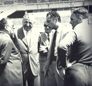 "Gianni at the ""Stadio Comunale"" in 1951 with Montaeri  and the English football manager Jesse Carver."