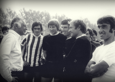 Gianni meets  Juventus players  Zoff, Anastasi, Altafini, Marchetti and Cuccureddu,  in Turin,  in 1972