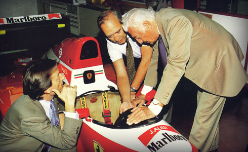 At Maranello,  in 1993 with Luca di Montezemolo,  and the Ferrai F93 A model.