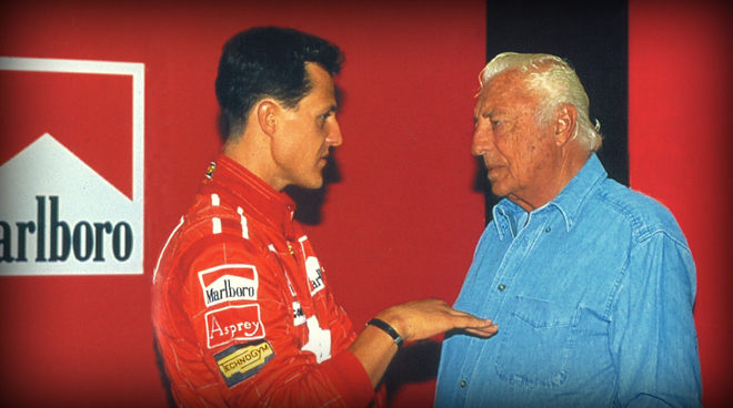 With Michael Schumacher  during the test drive of the F310 B, in 1997, Monza.