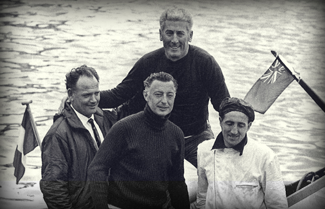 "The Avvocato with a group of technicians on a ski boat designed by Renato ""Sonny"" Levi."