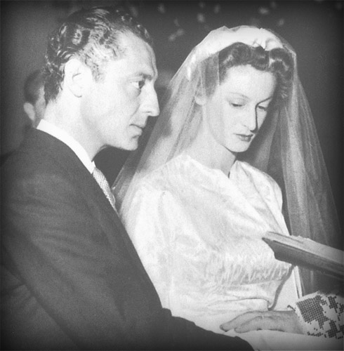 Gianni and Marella on their wedding day, celebrated in Strasburg in 1953.