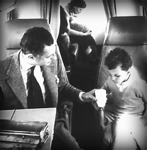 On the plane with his son  Edoardo in 1958.